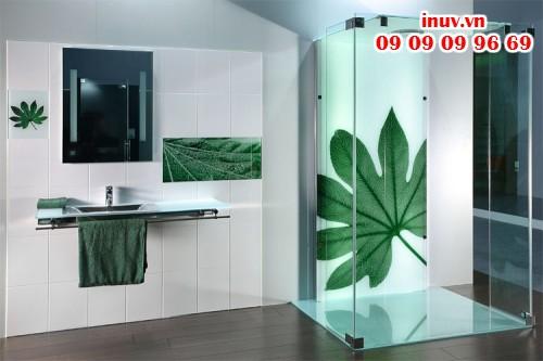 Sản phẩm kính trang trí nhà tắm in UV